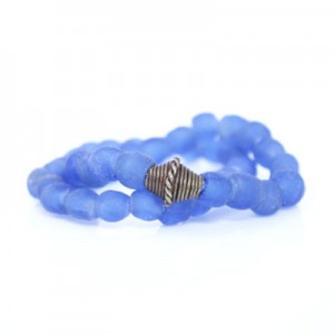 Blue African Recycled Glass Beads